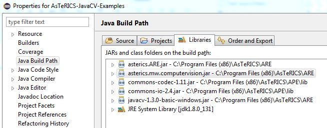 Build path dialog with external libraries
