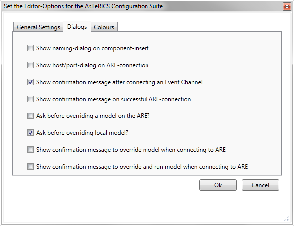 Screenshot: Options Dialog, Dialogs Settings