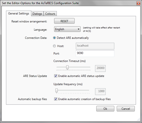 Screenshot: Options Dialog, General Settings