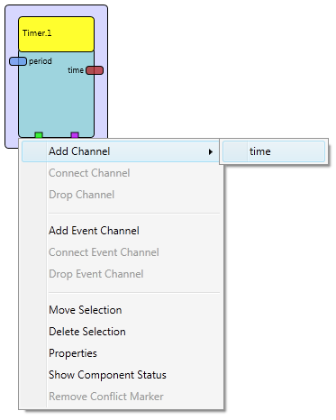 Screenshot: Component with opend context menu