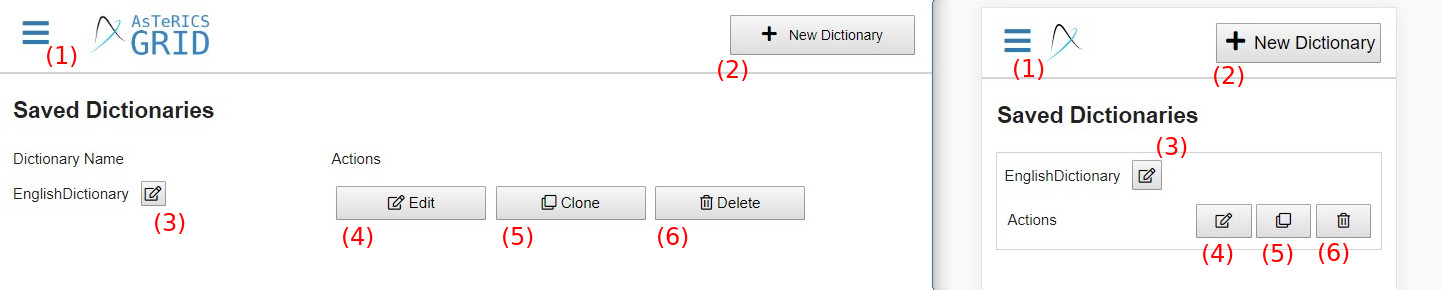 manage dictionaries view